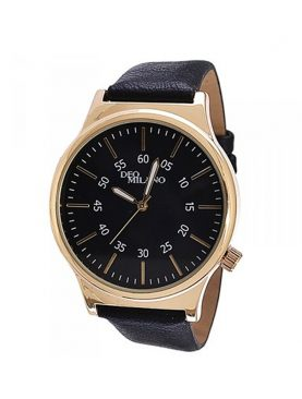 Deo Milano Classic Black Strap & Gold Dial Men's Watch