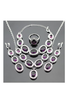 Dark Purple & Silver Jewelry Set
